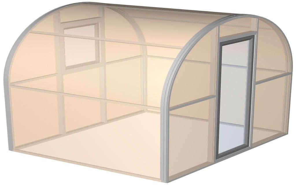 арочная алюминиевая теплица 2х2,5х2,5